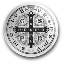 Medalik św. Benedykta, wzór nr 9 (przypinka, średnica - 56 mm)