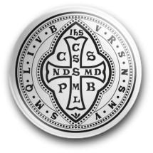 Medalik św. Benedykta, wzór nr 11 (przypinka, średnica - 56 mm)