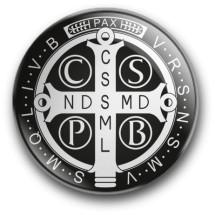 Medalik św. Benedykta, wzór nr 12 (przypinka, średnica - 56 mm)