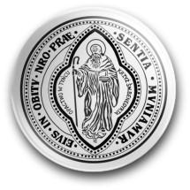 Medalik św. Benedykta, wzór nr 10 (przypinka, średnica - 56 mm)