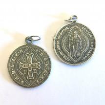 Medalik św. Benedykta (wzór tyniecki, srebro oksydowane)