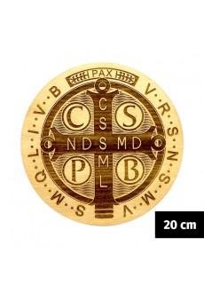 Medalik św. Benedykta grawerowany laserowo (jasny, średnica 20 cm, drewno bukowe)