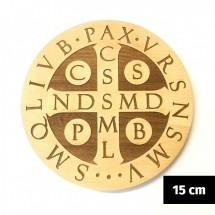 Medalik św. Benedykta grawerowany laserowo (wzór nr 6, średnica 15 cm, drewno bukowe)