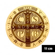 Medalik św. Benedykta grawerowany laserowo (wzór nr 2, średnica 11 cm, drewno bukowe)