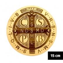 Medalik św. Benedykta grawerowany laserowo (wzór nr 2, średnica 15 cm, drewno bukowe)