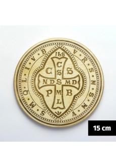 Medalik św. Benedykta (IHS, wzór tyniecki) grawerowany laserowo (wzór nr 12, średnica 15 cm, drewno bukowe)