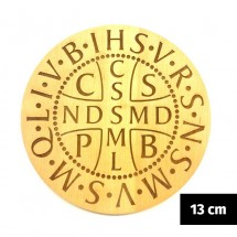 """Medalik św. Benedykta grawerowany laserowo """"karawaka"""" (wzór nr 4, średnica 13 cm, drewno bukowe)"""