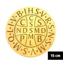 """Medalik św. Benedykta grawerowany laserowo """"karawaka"""" (wzór nr 4, średnica 15 cm, drewno bukowe)"""