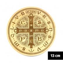 Medalik św. Benedykta (IHS) grawerowany laserowo (wzór nr 10, średnica 13 cm, drewno bukowe)