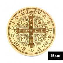Medalik św. Benedykta (IHS) grawerowany laserowo (wzór nr 10, średnica 15 cm, drewno bukowe)