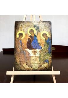 Ikona Trójca Święta (ikona wykonana techniką decoupage)