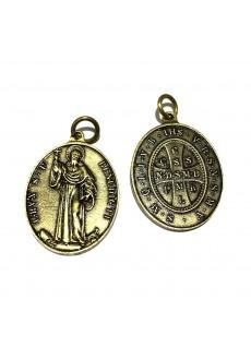 Medalik św. Benedykta, wzór klasyczny z 1741 r. (IHS, kolor: stare złoto)