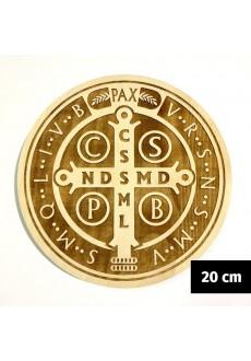 Medalik św. Benedykta grawerowany laserowo (wzór nr 15, średnica 20 cm, drewno bukowe)