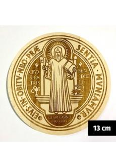 Medalik św. Benedykta grawerowany laserowo (wzór nr 13, średnica 13 cm, drewno bukowe)