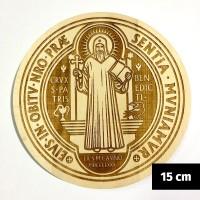 Medalik św. Benedykta grawerowany laserowo (wzór nr 13, średnica 15 cm, drewno bukowe)