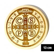 Medalik św. Benedykta grawerowany laserowo (wzór nr 16, średnica 13 cm, drewno bukowe)