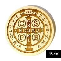 Medalik św. Benedykta grawerowany laserowo (wzór nr 16, średnica 15 cm, drewno bukowe)
