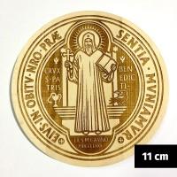 Medalik św. Benedykta grawerowany laserowo (wzór nr 13, średnica 11 cm, drewno bukowe)