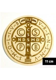 Medalik św. Benedykta grawerowany laserowo (wzór nr 14, średnica 11 cm, drewno bukowe)