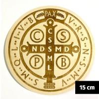 Medalik św. Benedykta grawerowany laserowo (wzór nr 14, średnica 15 cm, drewno bukowe)