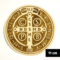 Medalik św. Benedykta grawerowany laserowo (wzór nr 15, średnica 11 cm, drewno bukowe)