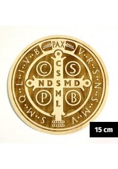 Medalik św. Benedykta grawerowany laserowo (wzór nr 15, średnica 15 cm, drewno bukowe)