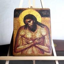 Ikona Chrystus Król Chwały (ikona wykonana techniką decoupage)