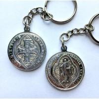 Brelok - Medalik św. Benedykta, wzór tyniecki (aluminiowy, średnica: 30 mm)