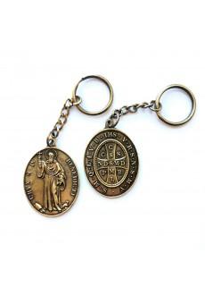 Brelok - Medalik św. Benedykta, wzór klasyczny z 1741 r. (IHS, kolor: stare złoto)