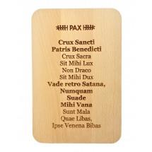 PAX. Fragment z medalika św. Benedykta - grawerowana deska prostokątna