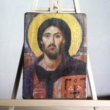 Chrystus Pantokrator z klasztoru św. Katarzyny na Synaju (ikona wykonana techniką decoupage)