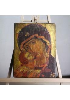 Matka Boża Włodzimierska (ikona wykonana techniką decoupage)
