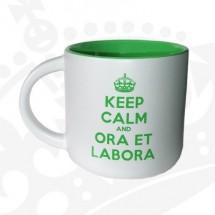 "Kubek ""KEEP CALM & ORA ET LABORA"" - KRniski zielony"
