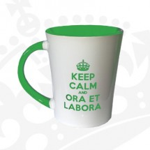 "Kubek ""KEEP CALM & ORA ET LABORA - KF wysoki zielony"