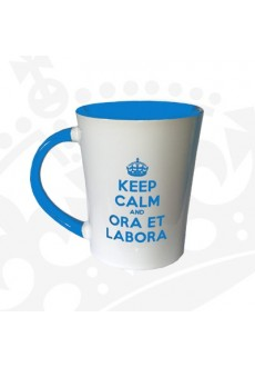 """Kubek """"KEEP CALM & ORA ET LABORA - KF Wysoki NIEBIESKI"""