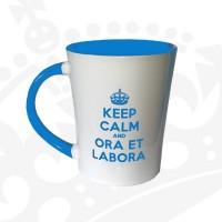 """Kubek """"KEEP CALM & ORA ET LABORA - KFwysoki niebieski"""