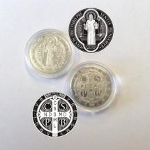 Moneta medalik Św. Benedykta - miedź cynowana (24 mm)
