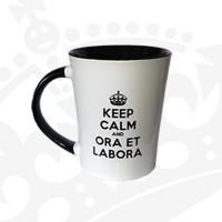 """Kubek """"KEEP CALM & ORA ET LABORA - KFwysoki czarny"""