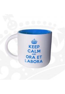 "Kubek ""KEEP CALM & ORA ET LABORA"" - KR niski niebieski"