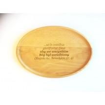 Aby we wszystkim Bóg był uwielbiony - grawerowana tacka owalna mała