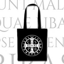 Torba czarna z medalikiem św. Benedykta (haft)