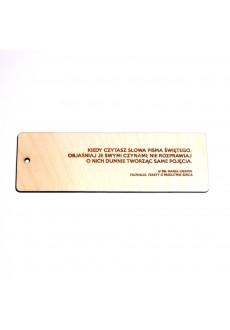 """Zakładka drewniana """"Kiedy czytasz słowa Pisma Świętego..."""" (św. Marek Eremita)"""