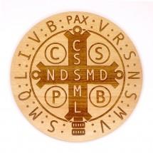 Medalik św. Benedykta grawerowany laserowo (wzór nr 7, średnica 20 cm, drewno bukowe)