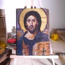 Pantokrator z klasztoru św. Katarzyny na Synaju (ikona wykonana techniką decoupage)