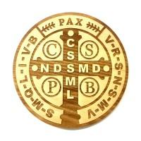 Medalik św. Benedykta grawerowany laserowo (wzór nr 8, średnica 20 cm, drewno bukowe)