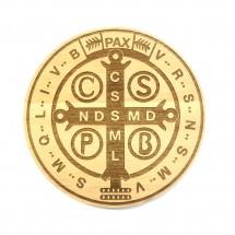 Medalik św. Benedykta grawerowany laserowo (wzór nr 9, średnica 20 cm, drewno bukowe)